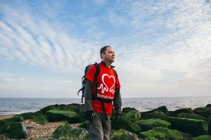Heart transplant patient walks the Yorkshire coastline as part of a nation-wide trek for British Heart Foundation